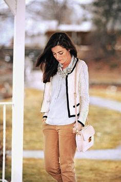 I love this look from Classy Girls Wear Pearls. Not into the bag but everything else.