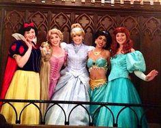 Snow White, Rapunzel, Cinderella, Jasmine, and Ariel at Cinderella's Royal Table!