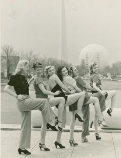 Lovely ladies at the 1939 World's Fair in New York 30s 40s War Era vintage fashion style pants shoes short skirt shirt top hairstyle found photo print