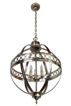 Large Spherical 3 Candle Nickel Fixture