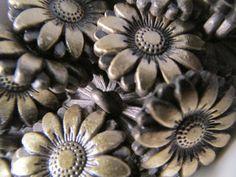 5 Sunflower Shank Buttons Metal 18mm Flower Sewing by WNBrunk