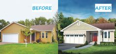 Exterior makeover with carriage style garage door, new paint adds curb appeal to this ranch home.