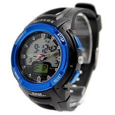 Schwarz Uhrgehäuse Datum Alarm-Hintergrundbeleuchtung Blau Lünette Mens Analog Digital-Uhr AW378B