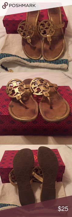 Gold Tory Burch Miller Sandals Used sandals. Please see photos for condition of shoes. Comes with original box and dust bag. Tory Burch Shoes Sandals