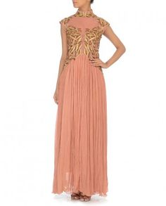 Zari Embroidered Sheer Peach Gown - Samant Chauhan - Designers
