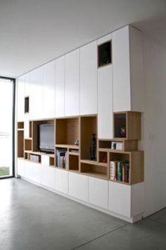Kastwand - vakjes van boekenkast komen terug in tv-kast Interior Architecture, Interior Design, Building Architecture, Muebles Living, Tv Cabinets, Cabinet Design, Bookshelves, Bookshelf Ideas, Home And Living