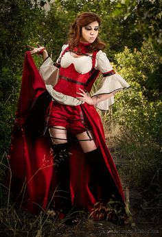 Steampunk Gothic Red Riding Hood  custom made by TheIronRing, €500.00