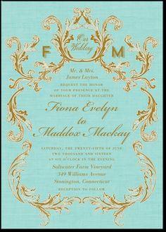 Weddingpaperdivas.com; Regally AdornedTaffy Signature White Wedding Invitations Designed by: Baumbirdy for Wedding Paper Divas