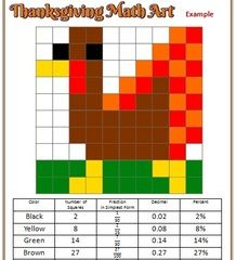 Thanksgiving Math Art! Enter for your chance to win 1 of 3. Thanksgiving Math Art  (5 pages) from Mathematic Fanatic on TeachersNotebook.com (Ends on on 11-21-2015) Students create unique works of Thanksgiving art (examples included), then calculate the fraction, decimal, and percent for each color.  Basic and challenge templates are included!.