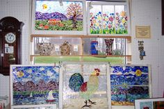 Items similar to Mosaic Stained Glass on Vintage windows on Etsy Mosaic Art, Mosaic Glass, Glass Art, Hanging Stained Glass, Stained Glass Windows, Vintage Windows, Old Windows, Mosaic Ideas, Mosaic Designs