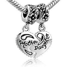 Heart Mother & Daughter Beads Charm- Pandora Charms Bracelet Compatible, (pandora, beads, murano, chamilia, glass beads, charms, troll, trollbeads, bundle, biagi)