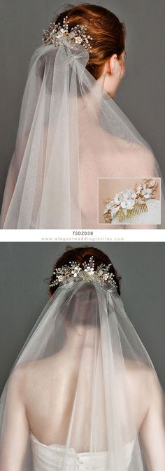 Wedding Headwear Set Crystal Pearl Hair Comb and One Tier Soft Sheer Plain Bridal Veil TSDZ038