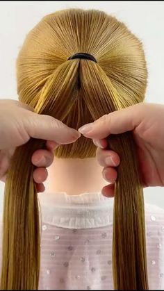 Hairdo For Long Hair, Bun Hairstyles For Long Hair, Easy Diy Hairstyles, Step By Step Hairstyles, Work Hairstyles, Hairstyle Tutorials, Girl Hair Dos, Hair Upstyles, Hair Videos