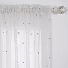 Deconovo Little Star Embroidery Gauze Curtain Panels with Rod Pocket Sheer Window CurtainS for Nursery 52x63 1 Pair Blue * To view further for this item, visit the image link. (Note:Amazon affiliate link)