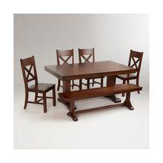 Cost Plus World Market Mahogany Verona Trestle Table ($450) ❤ liked on Polyvore…
