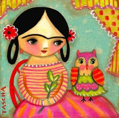 FRIDA KAHLO with OWL cute colorful print of folk art painting by tascha. $15.00, via Etsy.  SO cute