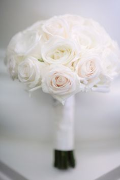 Creamy Rose Bouquet | Ivory + Barely Blush Pink | Kristin Vining Photography |   See More: http://www.stylemepretty.com/little-black-book-blog/2013/04/25/charlotte-new-years-eve-wedding-from-kristin-vining-photography/