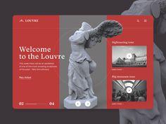 UI Design Concept for Louvre Museum designed by Denis Budnik. the global community for designers and creative professionals. Pop Design, Design Art, Graphic Design, Flat Design, Web Layout, Layout Design, Website Layout, Slider Web, Louvre Museum