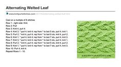 Knit Purl Stitches ■ Alternating welted Leaf stitch. Written instructions