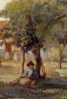 "Camille Pissarro (1830-1903) ~ ""Family Garden"" (Détail)"