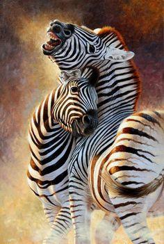 Cynthie Fisher - Wapenzi, zebra courting couple. I think this is acrylic.