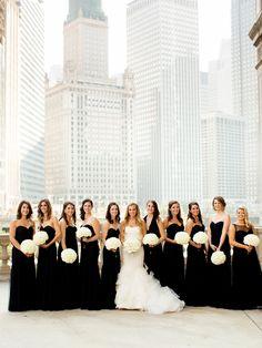 Photography: http://olivialeighweddings.com | Wedding dress: http://verawang.com | Read More: https://www.stylemepretty.com/2017/04/17/wedding-trend-black-bridesmaids-dresses/
