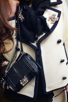 Chanel brooch + boy bag