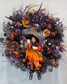 Extra Large Wreath  Halloween Witch Wreath  by Designawreath