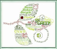 Lets Go Green 'Words' cross stitch pattern designed by Ursula Michael,