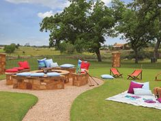 Utilize a large grassy yard to create a picnic area, bonfire and croquet space for you and your friends!