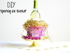 Msg 4 21+ DIY Sparkly Ice Bucket + Sauvignon Blanc Spritzer Tutorials.  Easy and perfect for summer block parties!  #vinoblockparty #ad #wine #foodie #entertaining #party