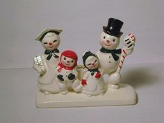Love them! RARE Vintage Christmas Mr & Mrs Snowman Family porcelain figurine Candle Holder Candy Cane Presents Holt Howard Japan Lefton Napco Ornament on Etsy, $225.00