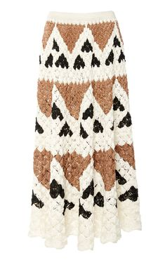 Spun from tri-colored silk, Oscar de la Renta's midi skirt is crochet knitted with a diamante motif into a flattering A-line silhouette. Crochet Skirt Outfit, Crochet Skirt Pattern, Crochet Bodycon Dresses, Black Crochet Dress, Crochet Skirts, Crochet Trim, Knit Skirt, Crochet Clothes, Knit Crochet