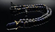 Men's Pendant Necklace Blue Sandstone Necklace Beaded