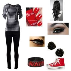 Fem! Jeff the Killer by katrodriguez733 on Polyvore featuring J Brand, Converse and Zoya