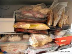 Freezer Meals on the Cheap: ideas for maximizing your productivity and minimizing prep time- she made 46 meals in 4 hours!