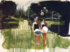 Brittany Ham, Beach Balls, oil on mylar, 2014