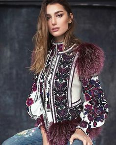 Ideas for embroidery jacket outfit fashion Folk Fashion, Ethnic Fashion, Hijab Fashion, Fashion Dresses, Womens Fashion, Fashion Fashion, Looks Style, My Style, Ethno Style