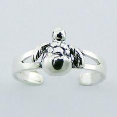 925 Sterling Silver Sea Turtle Toe Ring Hatching Baby Turtle