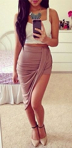 Taupe Ruched Twisted Draped Asymmetric High Low Hem Mini Maxi Skirt