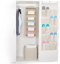 Features:  -The hanging 5 shelves organizer can be put on any attaching them with the strong Velcro attaching the on the closet rod and transforming them from a hanging closet to shelves in seconds, a