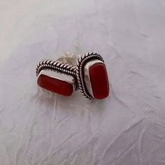 New Coral Stud Earrings Handcrafted 925 Silver Setting Artisan Healing Jewelry  #Stud