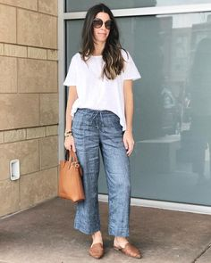 Shop the look from madstylestudio on ShopStyle Summer Pants Outfits, Casual Summer Outfits, Spring Outfits, Cool Outfits, Linen Pants Outfit, Look Fashion, Fashion Outfits, Pantalon Large, Mode Chic