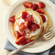 Strawberries and Cream Pancakes