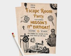 Escape Room Party Invitations 5x7/4x6 by PartyPixiePrintables