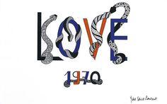 Yves Saint Laurent (1936-2008) Love Cartes de Vœux 1970