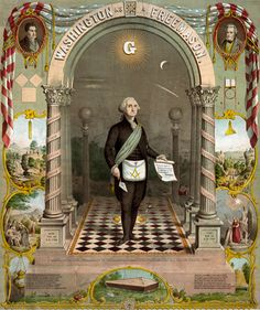 """President George Washington. This has always been one of my favorite """"paintings"""" of him. This copy is a bit small so I can't tell if it includes the dates he was initiated, passed and raised, but we have a copy in our Lodge dining room with the dates on it."""