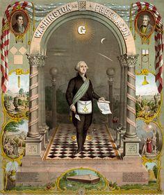 George Washington, maestro masón. Con mandil del Rito Francés.