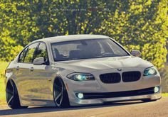 BMW F10 5 series silver slammed more cool pics - http://extreme-modified.com/top-10-extreme-cars/