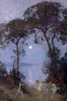 Arthur Streeton, Pastoral 1930 on ArtStack Watercolor Trees, Watercolor Landscape, Landscape Art, Landscape Paintings, Australian Painting, Australian Artists, Nocturne, Moonlight Painting, Virtual Art